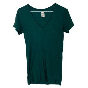 PINK Victoria's Secret V-Neck T-Shirt Emerald Green Short Sleeve Extra Small